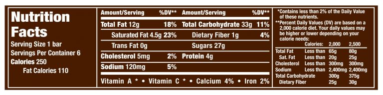 1pt86 oZ Snicker Bar Nutrition Facts